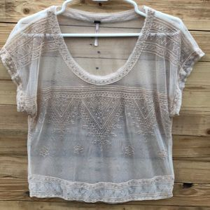 Free People | Sheer Embroidered Crop Top Small
